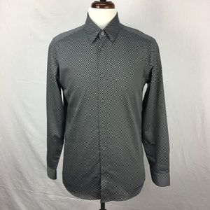 Ted Baker Black Tidal Slim Fit Print Sport Shirt